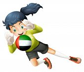 Illustration of a female soccer player with the United Arab Emirates flag on a white background