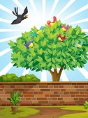 Illustration of a tree with a flock of birds