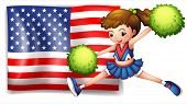 Illustration of a cheerleader and the USA flag on a white background