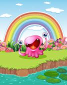 Illustration of a monster at the pond with a rainbow in the sky