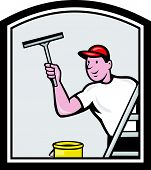 Window Washer Cleaner Cartoon