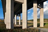 stock photo of girder  - motorway bridge landscape - JPG