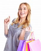 Cheerful female with paper bags isolated on white background, happy shopaholic, buying presents, mak