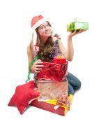 Постер, плакат: Девочка подросток сидел с Xmas Подарки