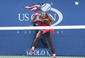 Sixteen times Grand Slam champion Serena Williams during fourth round match at US Open 2013