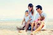 Happy Family at the Beach, Quality Family Time, Lifestyle Concept