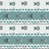 vector seamless abstract pattern texture, blue waves and fish