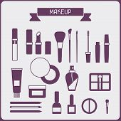 foto of blush  - Set of cosmetics icons in flat style - JPG