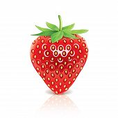 pic of strawberry plant  - Strawberry isolated on white photo - JPG