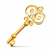 Golden Key Isolated On White Vector
