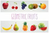 stock photo of strawberry  - Collection of geometric polygonal fruits - JPG