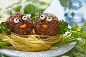 foto of meatball  - Spaghetti with meatballs for kids - JPG