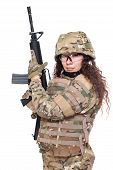 Beautiful Army Girl With Rifle