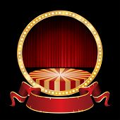 vector circle circus stage with red curtain