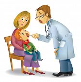 A vector illustration of a pediatrician performs medical inspection