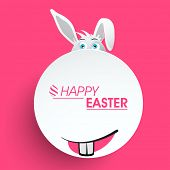 Happy Easter celebration sticker, tag or label with bunny face and stylish text on pink background.