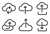 Black vector icons of different operations in cloud isolated on white background