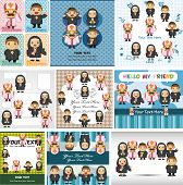 stock photo of nun  - set of 9 cartoon Priest and nun cards  - JPG