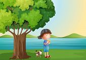 Illustration of a young boy and his pet under the tree