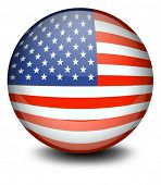 Illustration of a soccer ball with the flag of the USA on a white background