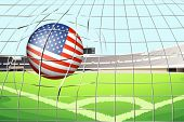 Illustration of a soccer ball with the US flag