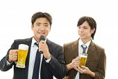 Businessmen enjoy beer