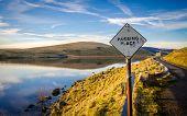 Passing Place Sign Beside Scottish Lake