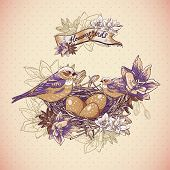 Vintage floral background with birds and nest