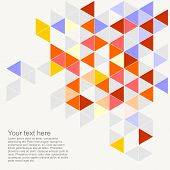 Vector geometric mosaic grey, yellow, blue triangle card document template. Hipster flat surface
