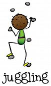 Illustration of a stickman juggling on a white background