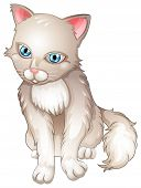 Illustration of a sad cat on a white background