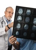stock photo of medical doctors  - Two doctors viewing MRI Scans of Patient - JPG