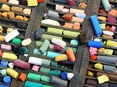 Pastel Colored Crayons In A Box