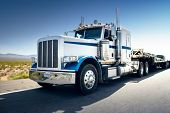stock photo of trucking  - Truck and highway at day  - JPG