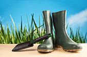 foto of work boots  - Green rubber boots - JPG