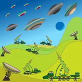stock photo of projectile  - Flying plates of aliens are attacking the Earth - JPG