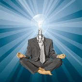 Relax concept. lamp head businessman in lotus pose meditating