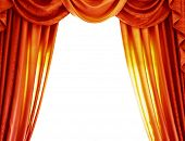 Luxury orange curtains isolated on white background, abstract border, open curtain on the theater, t