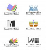 An illustration of literature business icons