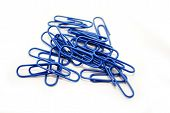 Blue Paper Clips on a White Background