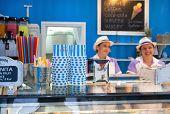 DUBROVNIK, CROATIA - MAY 26, 2014: Gossip ice cream shop on main street Stradun. It is one of the be