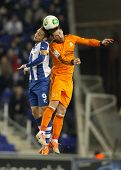 BARCELONA - JAN, 21: Sergio Garcia(L) of Espanyol vies with Sergio Ramos(R) of Real Madrid during th