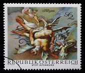 AUSTRIA - CIRCA 1968: a stamp printed in the Austria shows Vanquished Demons, by Paul Troger, Altenburg Abbey, circa 1968