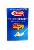 Hayward, CA - September 1, 2014: Box of Barilla brand Tri-cColored Rotini