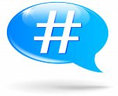 picture of hashtag  - illustration of hashtag sign blue speech bubble - JPG