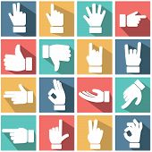 Hand gestures icons set