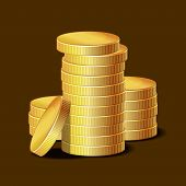 Stacks of Golden Coins on Dark Background. Vector