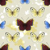 Seamless background with butterflies and paint splashes