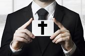 Undertaker Man Holding Sign Black Cross Funeral