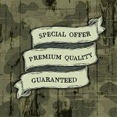 Design elements on camouflage background. Vector, EPS10